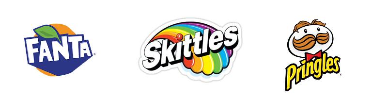 logos da Fanta, Skittles e Pringles